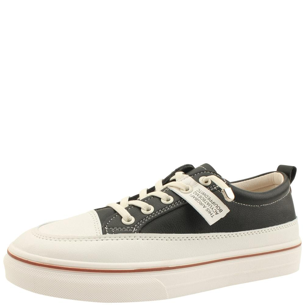 Cowhide Lace-up Label Sneakers Black