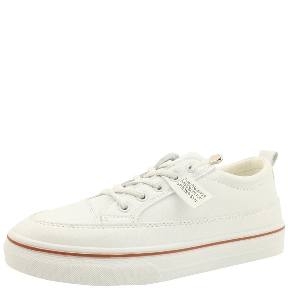 Cowhide Lace-up Label Sneakers White