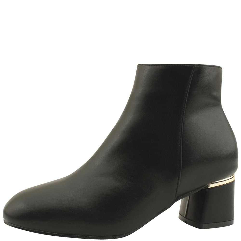 Gold-plated middle heel brushed ankle boots black