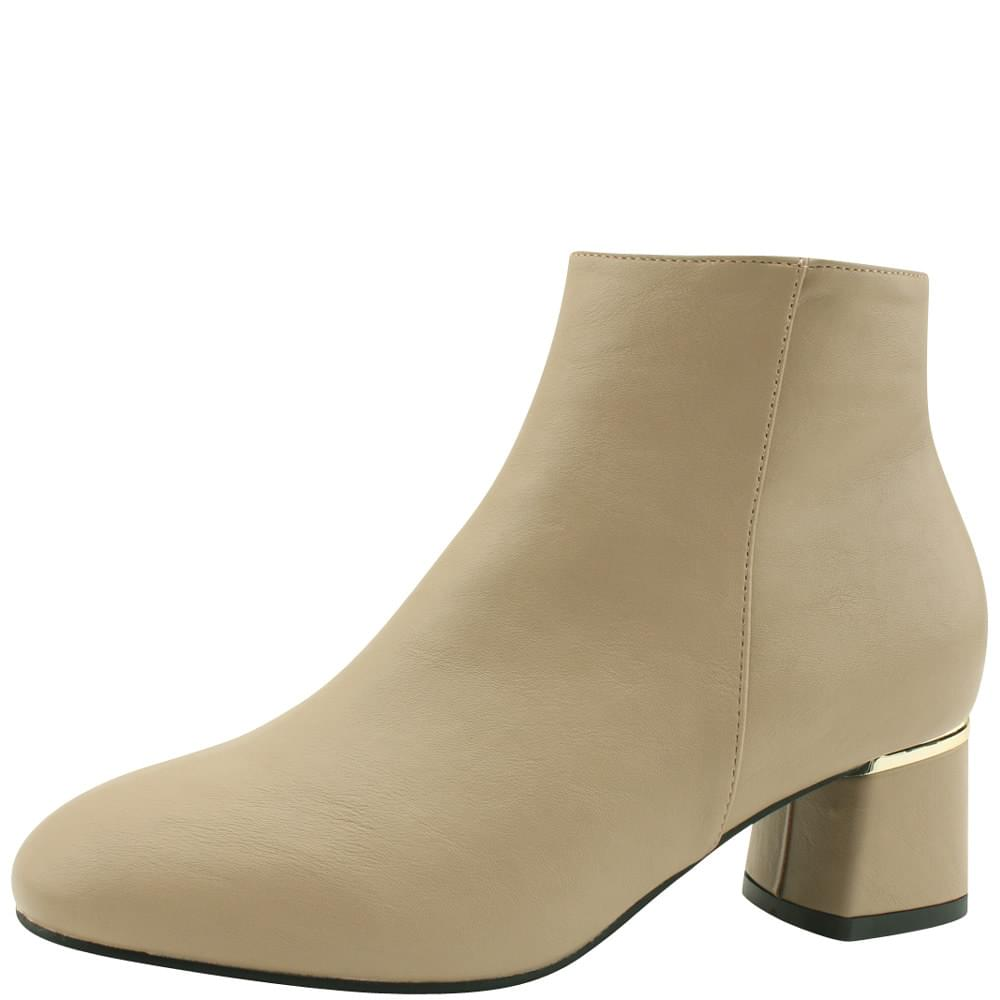 Gold-coated middle heel brushed ankle boots beige