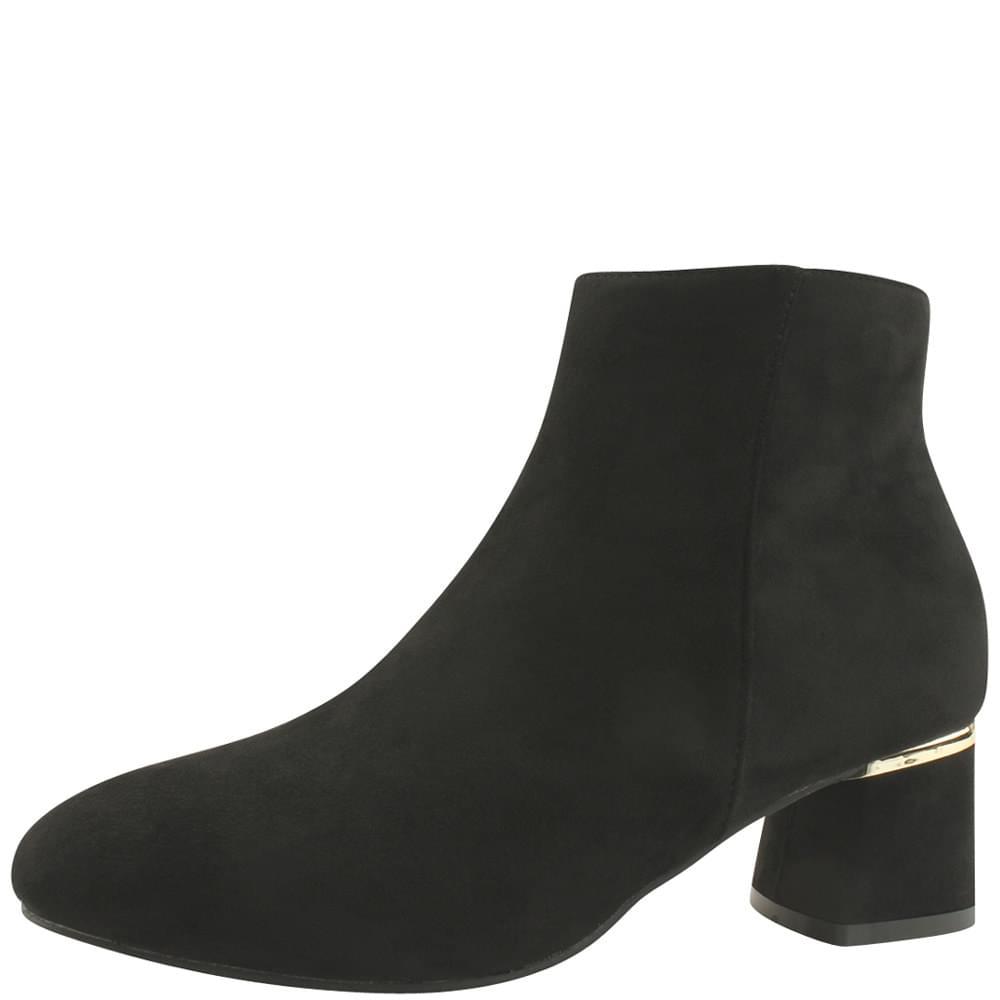 Golden Middle Heel Suede Ankle Boots Black
