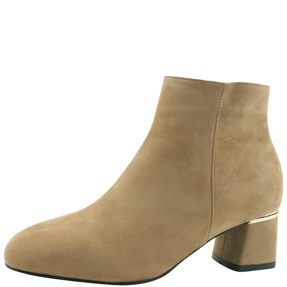 Gold-plated middle heel suede ankle boots beige