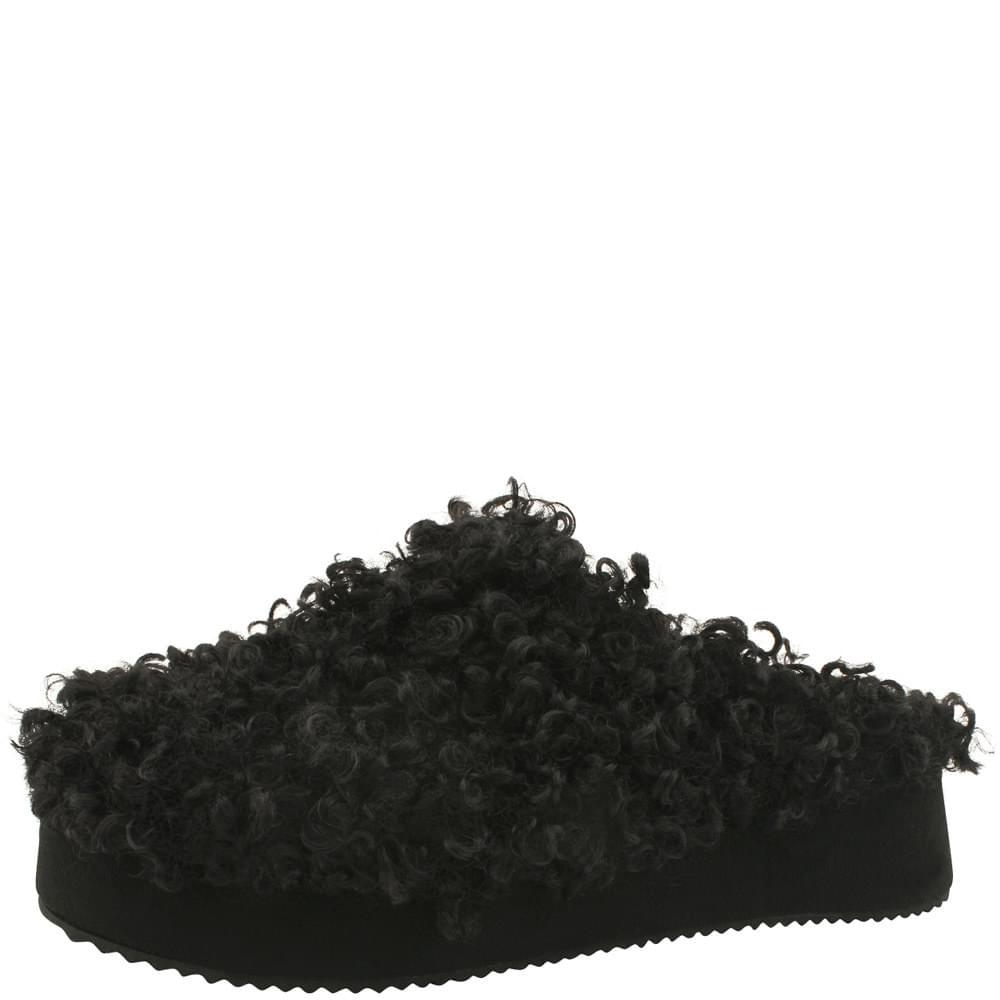 High heel height fur slippers 5cm black