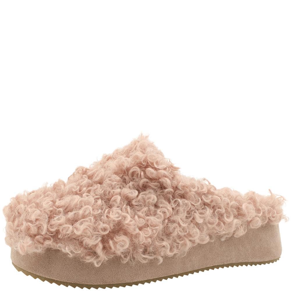 High heel height fur slippers 5cm pink