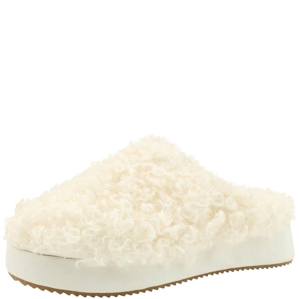 High heel height fur slippers 5cm white