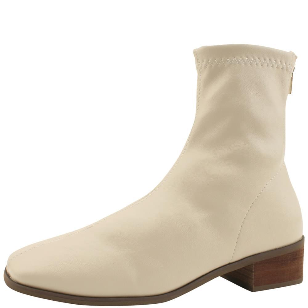 Smygup Low Heel Span Ankle Boots Light Beige