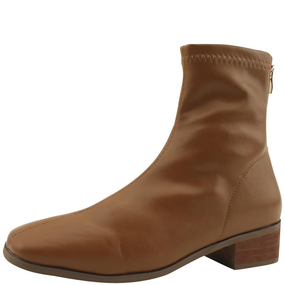 Smigup Low Heel Span Ankle Boots Brown