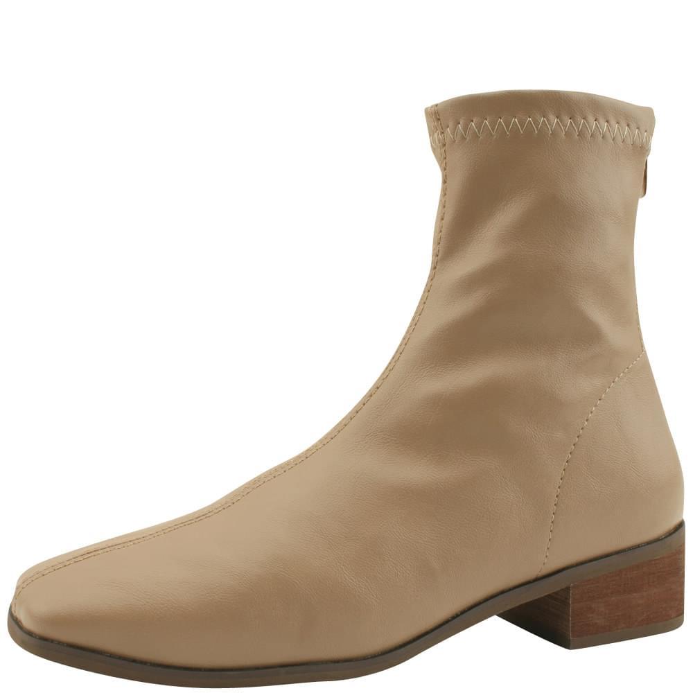 Smygup Low Heel Span Ankle Boots Jean Beige