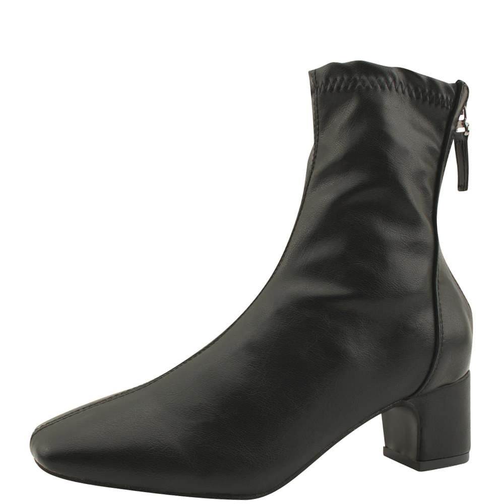 Spandex Square Nose Middle Heel Ankle Boots Black