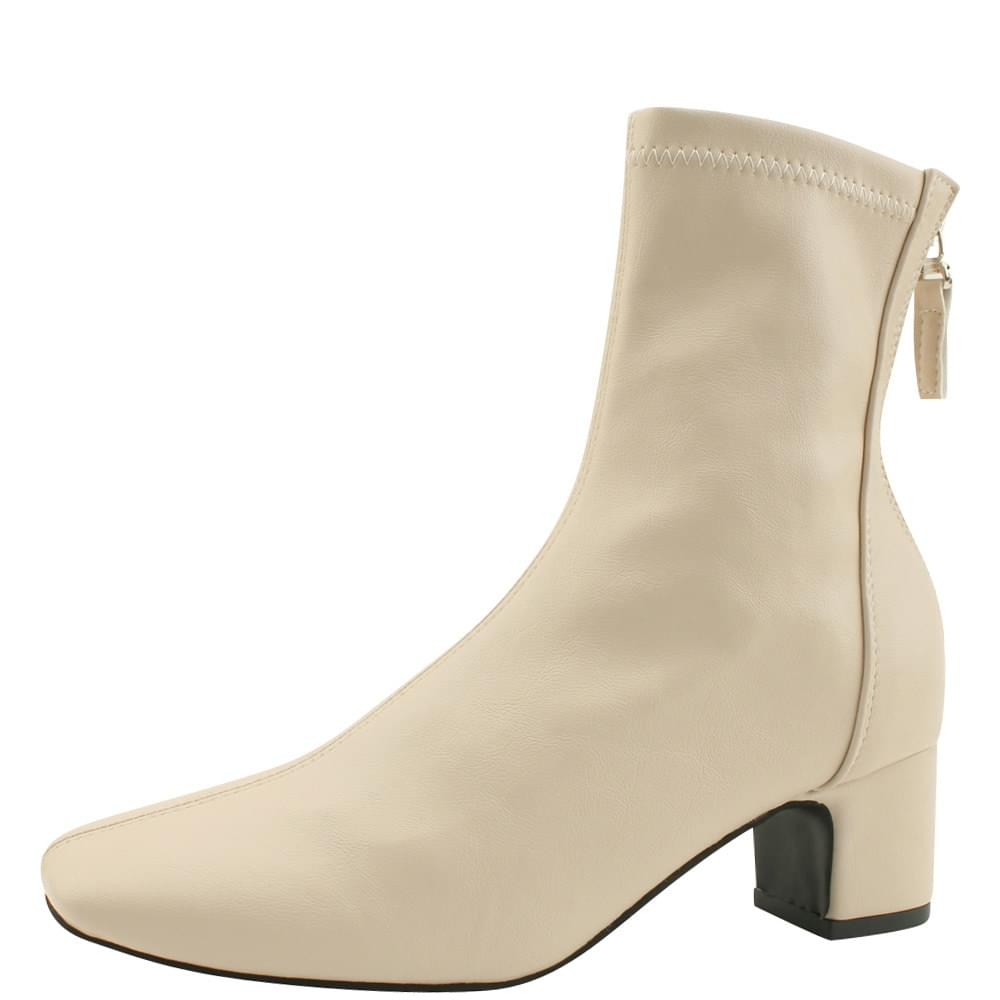 Spandex Square Nose Middle Heel Ankle Boots Light Beige