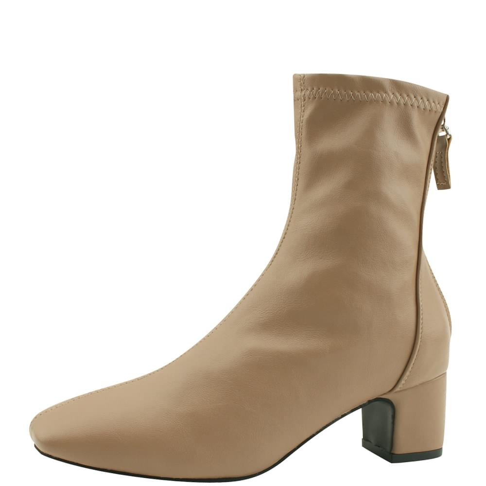 Spandex Square Nose Middle Heel Ankle Boots Jean Beige