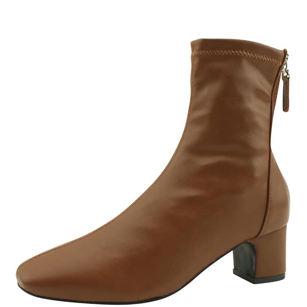 Spandex Square Nose Middle Heel Ankle Boots Brown