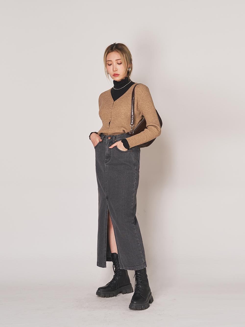 Chalon split long skirt