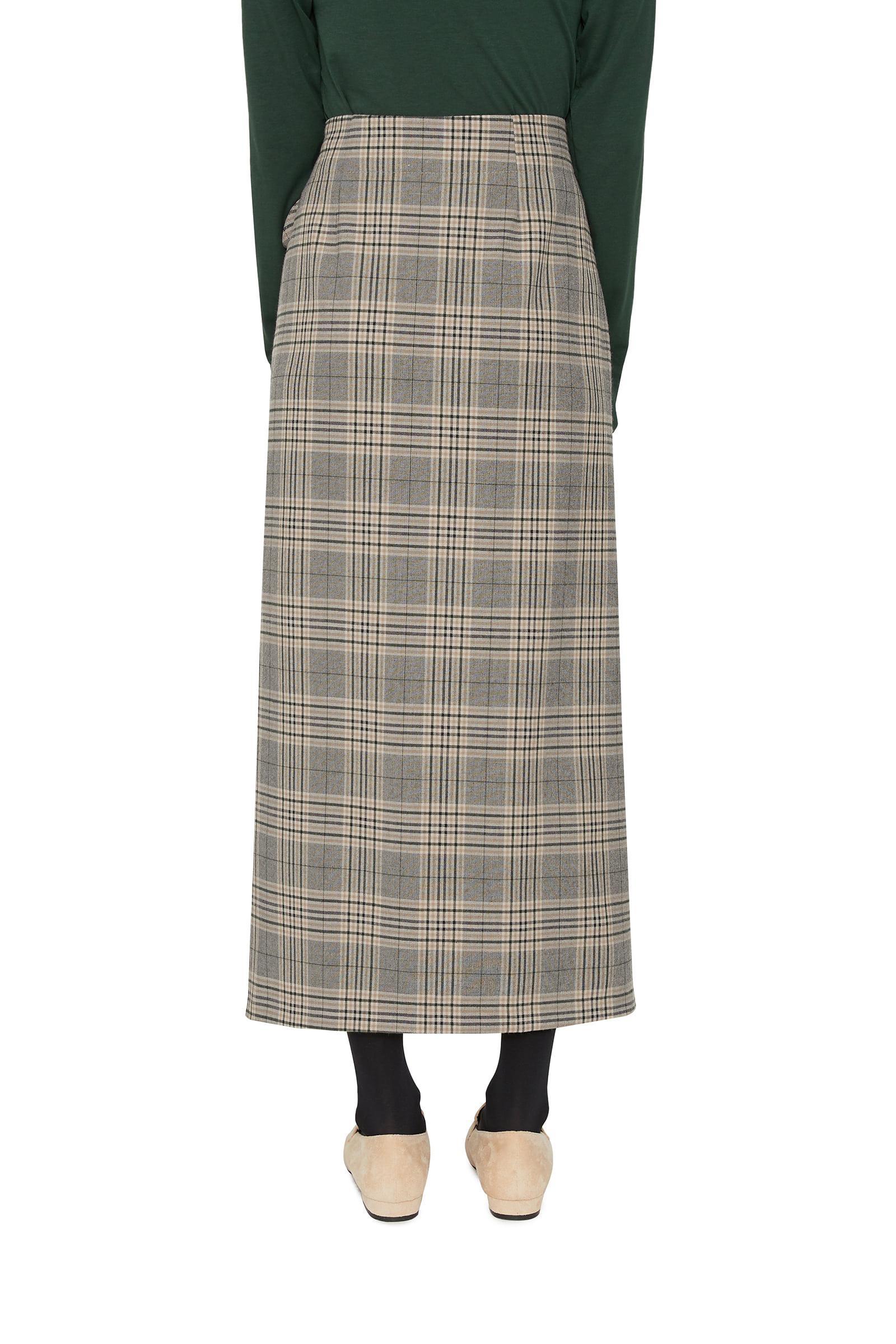 Widen check wrap maxi skirt