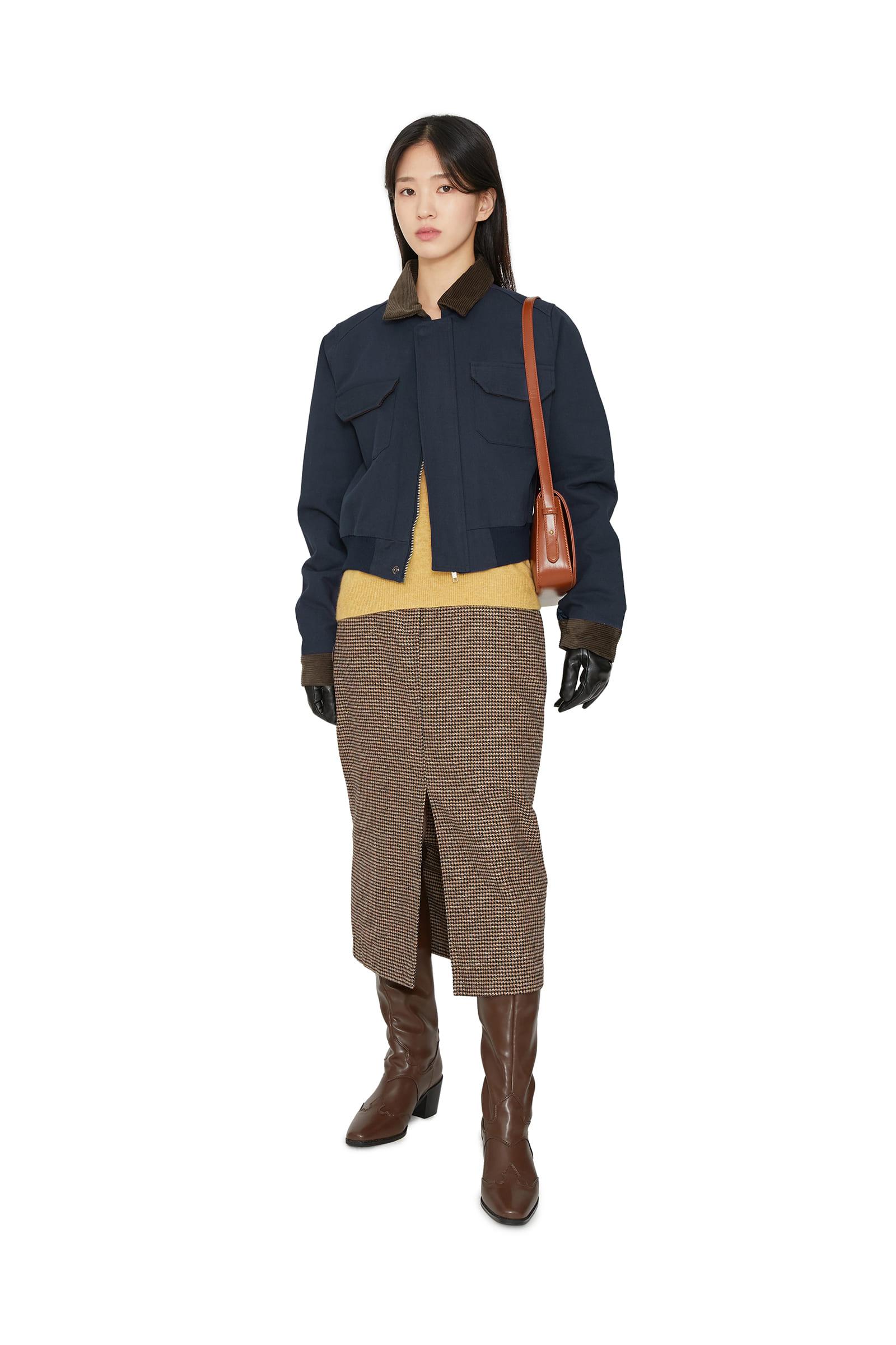 Mud corduroy short bomber jacket