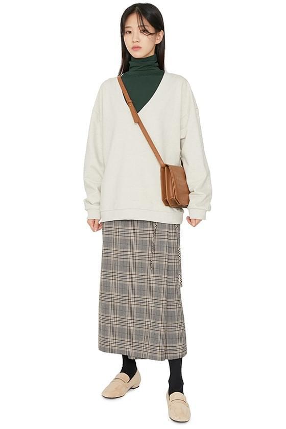 Widen check wrap maxi skirt 裙子