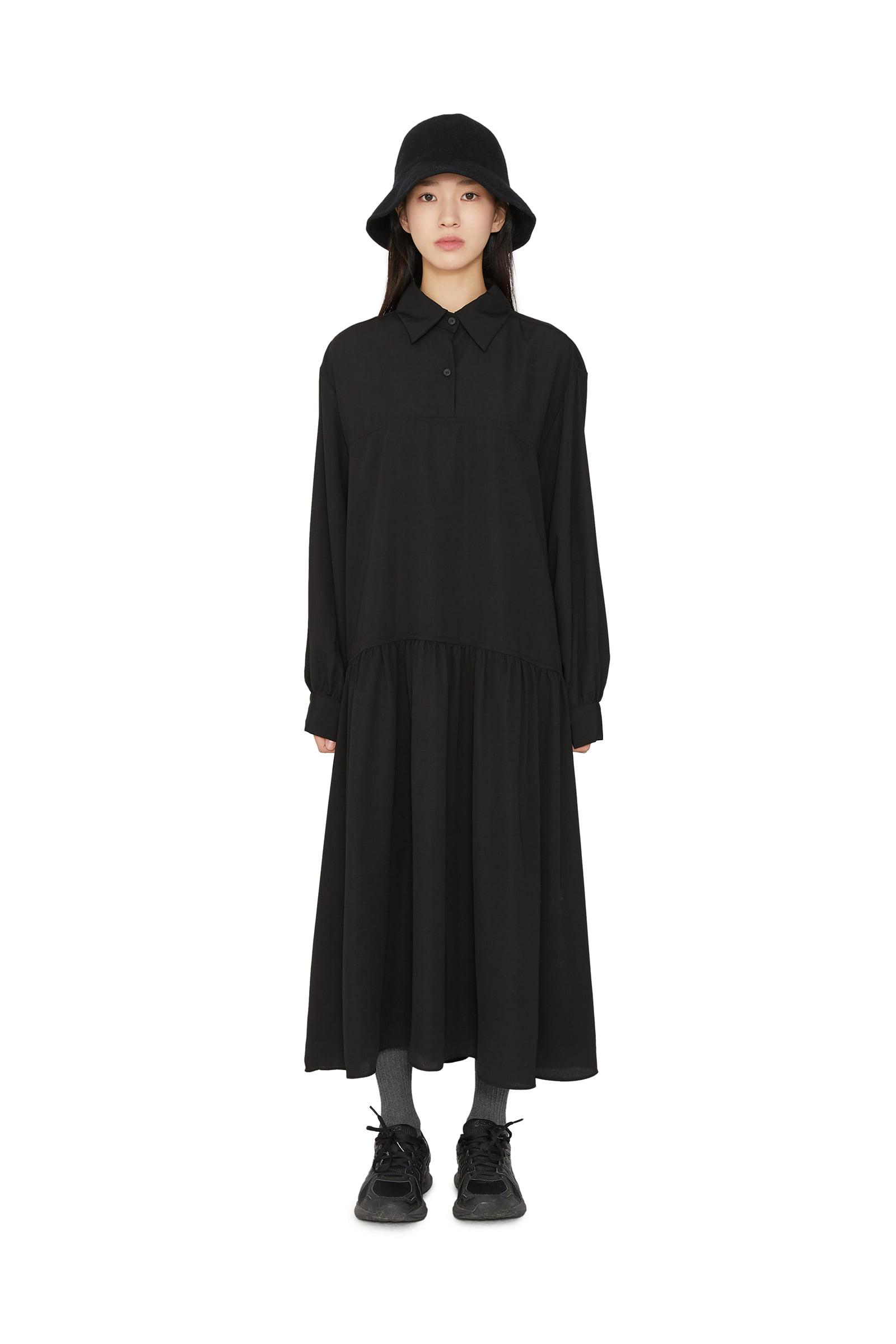 Shadow collar overfit maxi dress