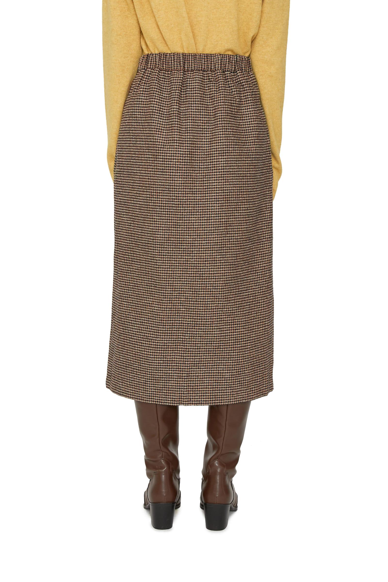 Plain check midi skirt