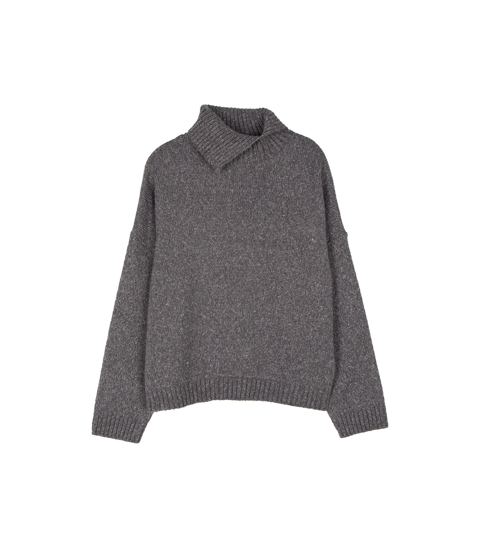 Shading slit turtleneck knit