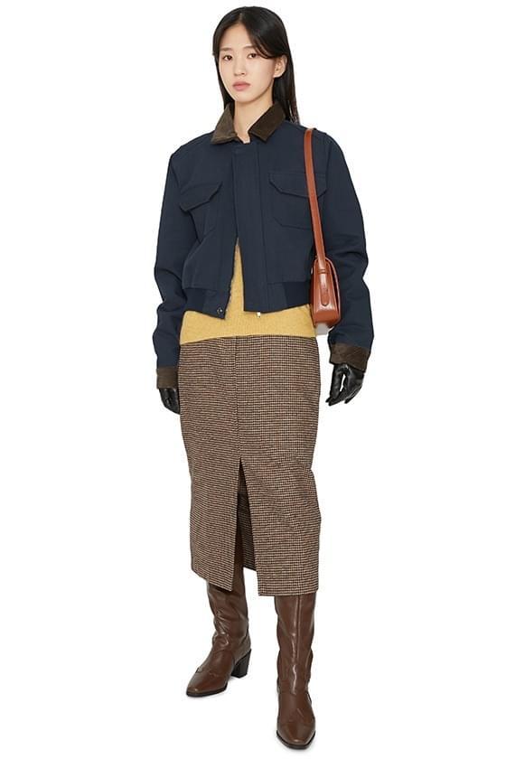 Plain check midi skirt 裙子