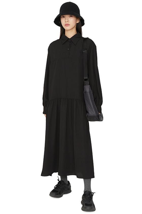 Shadow collar overfit maxi dress 洋裝