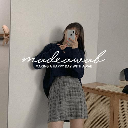 #MADEAWAB:_Dimmer check boxy jacket & skirt setup set -Individual purchase available♥ set
