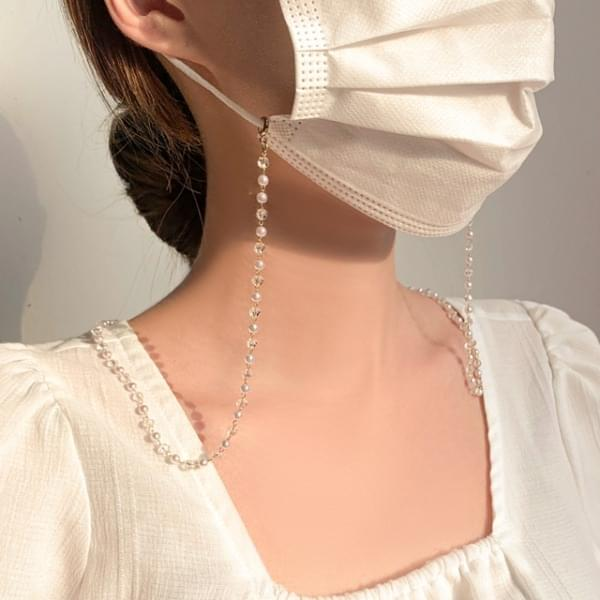 Pearl Transparent Ball Beads Mask Strap Necklace