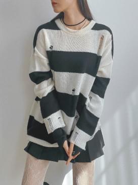 Stripe Long Knit & Mini Dress