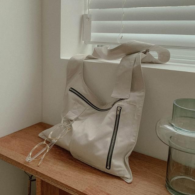2-way zipped cotton cross-body bag