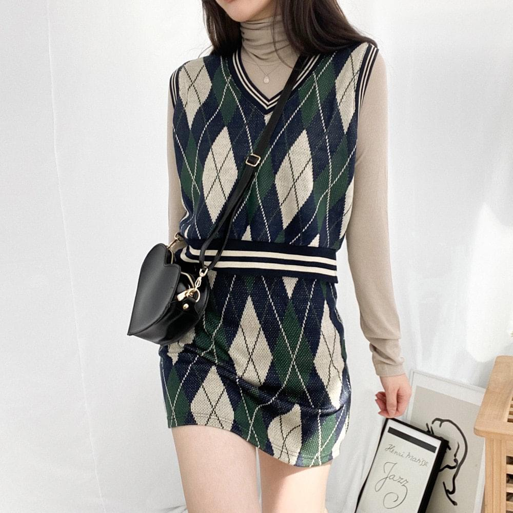 Argyle Knit Vest Skirt SET