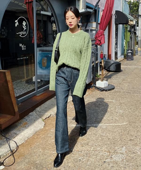 Fabric straight high pants