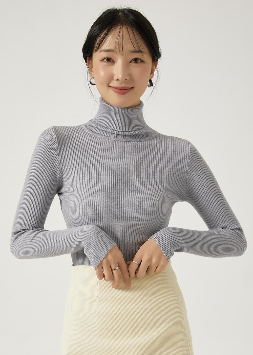Simple Ribbed Turtleneck Knitwear