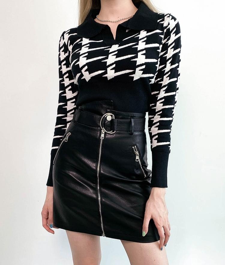 Cropped collar check knit 針織衫
