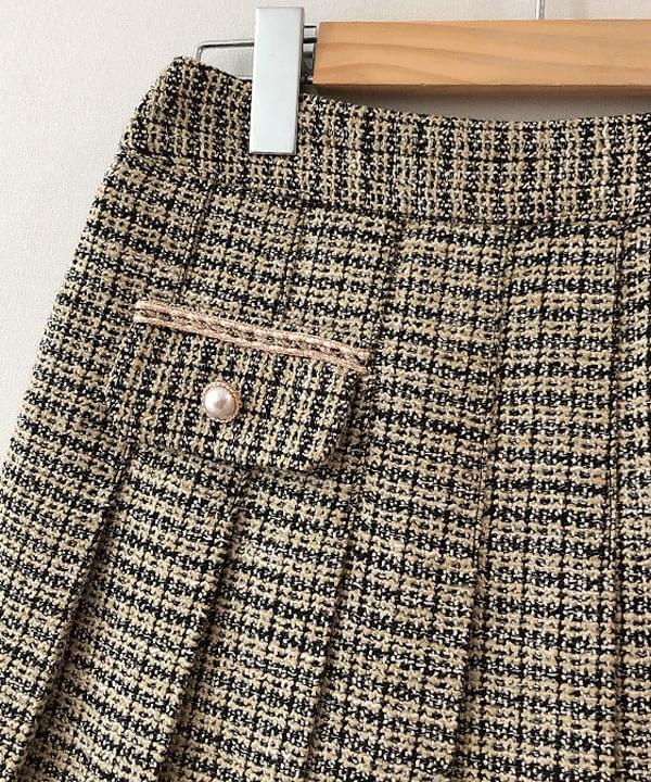 Venue tweed pleated skirt