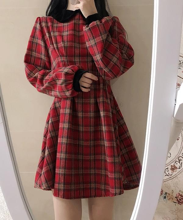 Lorwyn Velvet Check Pin Tuck Ops 洋裝