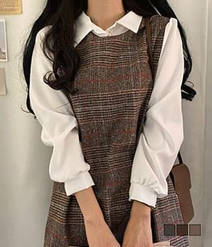 Pigon collar check mini dress 洋裝