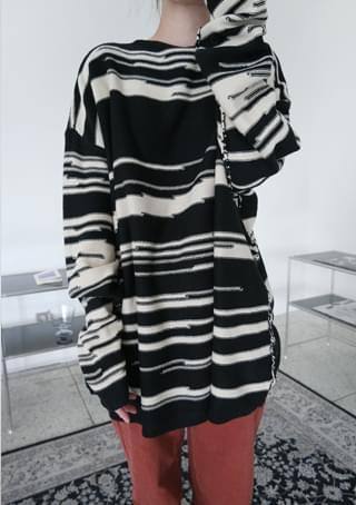joint stripe wool knit