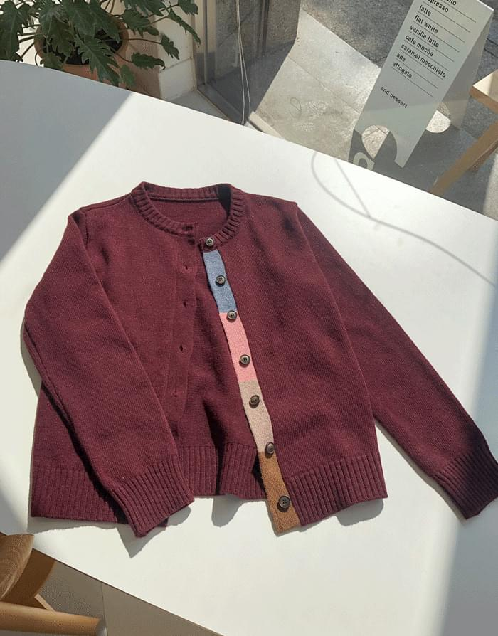 Wool Color Tape Cardigan
