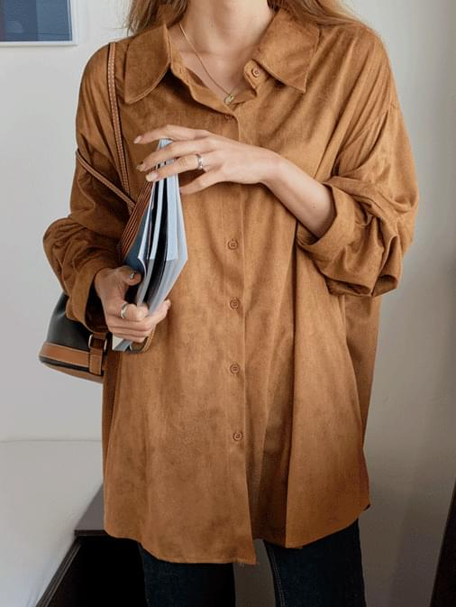 Roiled suede overfit shirt