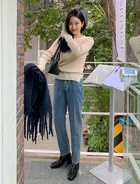 Blooming straight slim denim pants