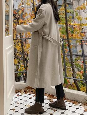 Haze Double Long Coat Belt Detachable/Wool 40%