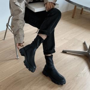 Side zip full heel middle boots 5cm