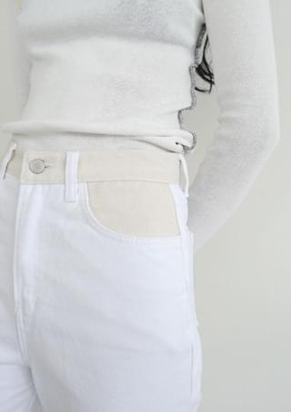 waist color blocking straight pants