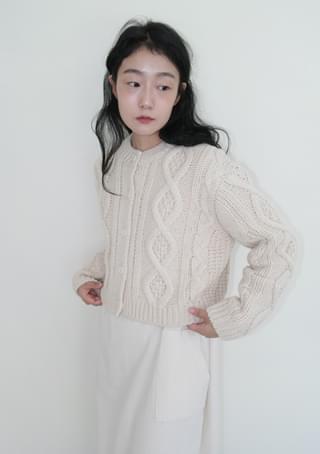 wool twist knit cardigan