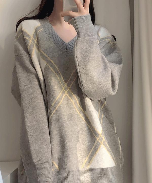 Diamond check mini knit dress 洋裝