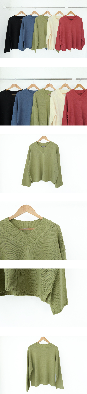 V領寬鬆版針織衫