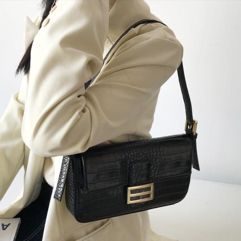 Urban Bros crocodile two-buckle leather bag