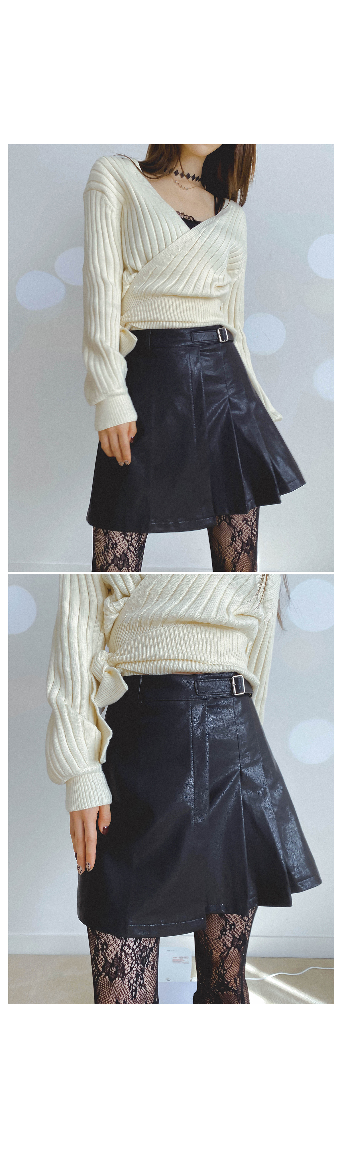 Pleated Leather Mini Skirt