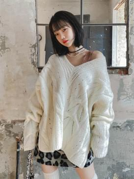 Wool cable long knit