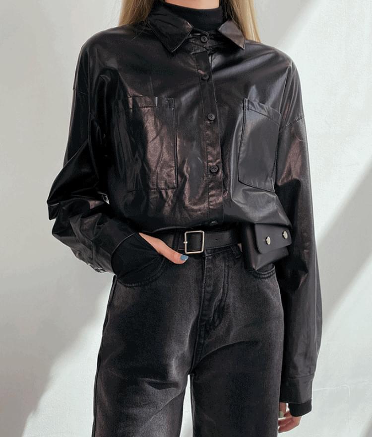 Leather boxy fit shirt